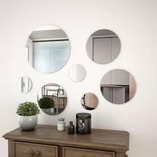7 piece wall mirror set round glass