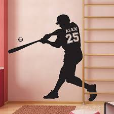Baseball With Personalized Name Number Vinyl Wall Art Decal
