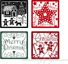 Set Of 4 Vinyl Decal Stickers For Glass Blocks Christmas Gift Holiday Home Decor