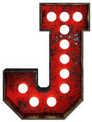Broadway Style Light Bulb Font Letter J Sticker