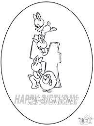 Hoera 4 Jaar Kleurplaten Verjaardag