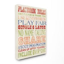 Stupell Industries 16 In X 20 In Playroom Rules In Four Colors By Stephanie Workman Marrott Printed Canvas Wall Art Brp 1339 Cn 16x20 The Home Depot
