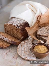 rye bread in tea towel and crispbread