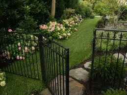 Side Yard Idea For Client Who Wants Black Fence Aluminum Fence Landscaping Fence Landscaping Walkways Paths