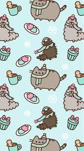 pusheen cat winter wallpaper image