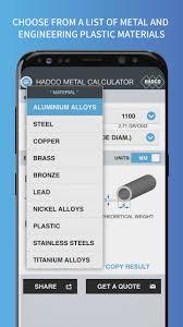metal weight calculator smart phones