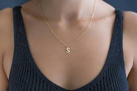 tiny gold letter necklae gold initial