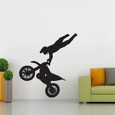 Motocross Jump Silhouette Wall Decal Decor Stickers Vinyl Room Ktm Yamaha Decals Stickers Vinyl Art Home Garden Decals Stickers Vinyl Art Home Decor