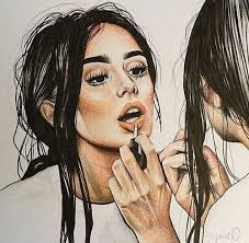 drawing of a with makeup
