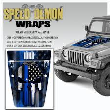 Punisher American Flag Blue Line Jeep Hood Wrap Tj 1996 2006