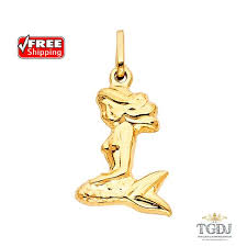 yellow gold mermaid pendant 14k mermaid