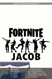 Personalized Name Fortnite Wall Decal Fortnite Birthday Party Sticker Fortnite Svg Wall Decal Wall Sticker Design Wall Decals Boy Sports Bedroom