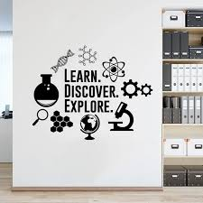 Science Explore Vinyl Wall Decal Classroom Laboratory Decor Experiment Tools Wall Stickers Learn Discover Explore Murals Az901 Wall Stickers Aliexpress