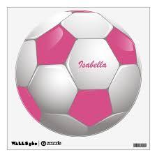Customizable Football Soccer Ball Pink And White Wall Sticker Zazzle Com