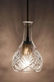 bell hand cut clear decanter pendant lamp