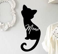 Meow Cat Silhouette Wall Sticker Tenstickers