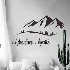Adventures Awaits Wall Decals Vinyl Mountain Wall Art Sticker For Living Room Study Bedroom Decoration Travel Decal Nordic Wall Stick Buy Wall Decals Buy Wall Sticker From Carrierxia 3 02 Dhgate Com