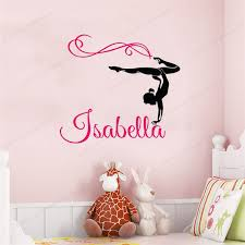 Custom Gymnastics Name Wall Decals Girl Room Decoration Kindergarten Wall Decals For Girlshj123 Wall Stickers Aliexpress
