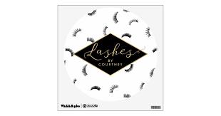 Lots Of Lashes Pattern Lash Salon White Black Gold Wall Decal Zazzle Com