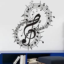 Tgsik Diy Personalized Music Notes Swirl Around Decals Beat Notes Music Symbol Stickers Vinyl Removable Home A Music Wall Decal Decal Wall Art Music Room Decor