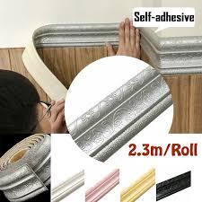 2 3m Roll 3d Waterproof Rustic Tile Living Room Bathroom Baseboard Self Adhesive Vintage Wallpaper Borders 3d Wall Stickers Wish