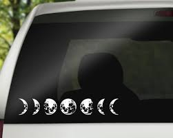 Moon Cycle Car Decal Lunar Cycle Astronomy Decal Moon Sticker Crescent Moon Decal Full Moon Waxing Gibbous New Moon Hipster Modern Moon Decal Cat Stickers Silhouette Vinyl