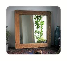 wooden wall mirror dark wood frame