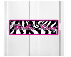 Personalized Kids Room Door Sign Zebra Print Bedroom Door Sign Room Pl Onestopairbrushshop