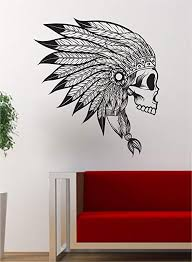 Amazon Com Boop Decals Indian Chief Skull Version 2 Art Decal Sticker Wall Vinyl Decor Home Wall Native American Home Kitchen