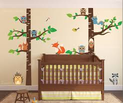 Birch Tree Forest Set Vinyl Wall Nursery Decal With Owls Fox Racoon Porcupine And Birds 1327