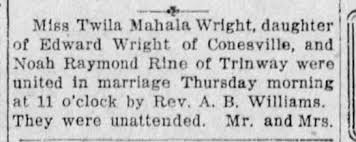 Twila Wright and Noah Rine Were United in Marriage - Newspapers.com
