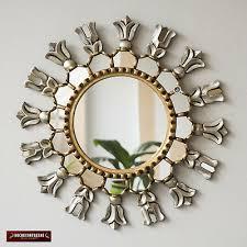 silver gold round wall mirror 17 7