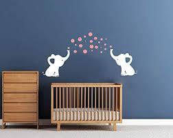 Amazon Com Luckkyy Elephants Bubbles Wall Decal Vinyl Wall Sticker Wall Art Baby Nursery Wall Decor White Pink Home Kitchen