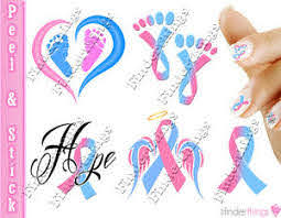Pregnancy Infant Loss Awareness Ribbon Mix Nail Art Decal Sticker Set Rib909 Ebay