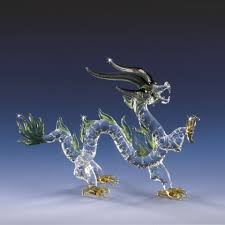 fire dragon hand blown glass figurine