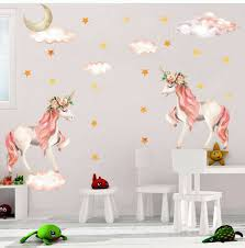 Moon Unicorn Wall Sticker Star Clouds Girls Kids Room Nursery Decor Wall Decal For Sale Online Ebay