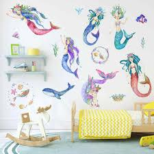 Cartoon Mermaid Princess Wall Stickers Wallpaper Diy Vinyl Home Wall Decals Kids Living Room Bedroom Girls Room Decors Wall Stickers Aliexpress