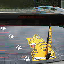 Top Yellow Cat With Wagging Tail Car Rear Window Windshield Wiper Sticker Decal For Sale Online Ebay