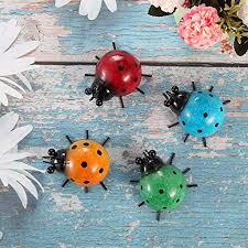 Skelang Ladybug Wall Art Metal Decorative Wall Art Wall Hanging Ornament Indoor Outdoor Wall Sculpture For Garden Fence Wall Pack Of 4 Amazon Co Uk Kitchen Home