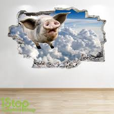 Flying Pig Wall Sticker 3d Look Bedroom Lounge Farm Yard Wall Decal Z232 Ebay