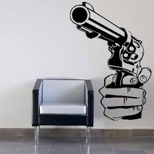 2017new Gun Shooting Wall Art Sticker Decal Diy Home Decoration Decor Wall Mural Removable Bedroom Sticker Diy Kids Removable Wall Decals Kids Removable Wall Stickers From Langru1002 9 85 Dhgate Com