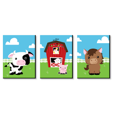 Farm Animals Barnyard Nursery Wall Art Kids Room Decor 7 5 X 10 Set Of 3 Prints Walmart Com Walmart Com
