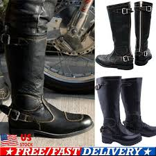 knee high boots zipper punk knight