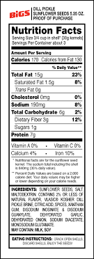 bigs vlasic dill sunflower seeds nutrition
