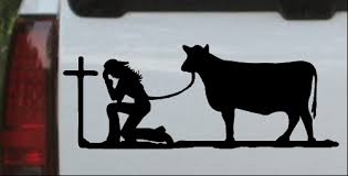 Cowgirl Kneeling At The Cross With Cow Car Or Truck Window Decal Sticker Or Wall Art Decalsrock