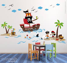 Pirates Wall Decal Treasure Island Wall Decal Playroom Wall Decals Pirates Wall Sticker Nursery Baby Room Decor Pirate Ship Wall Decal Playroom Wall Decals Playroom Wall Kids Room Wall Decals