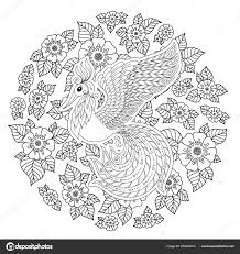 Exotic Bird Fantastic Flowers Leaves Firebird Stress Coloring Page