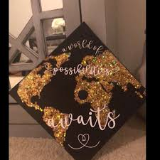 Graduation Cap Decal Download Only A World Of Possibilities Awaits White Background Graduation Cap Decoration College Graduation Cap Decoration Diy Graduation Cap