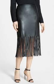 pink tartan faux leather fringe skirt