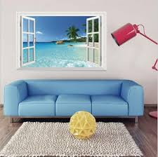 Fake Window Wall Decal Fatheads Stickers Faux Windows For Walls Cubicle Decorations 3d Beach Seascape Landscape Wall Decor For Livingroom Bedroom Wish